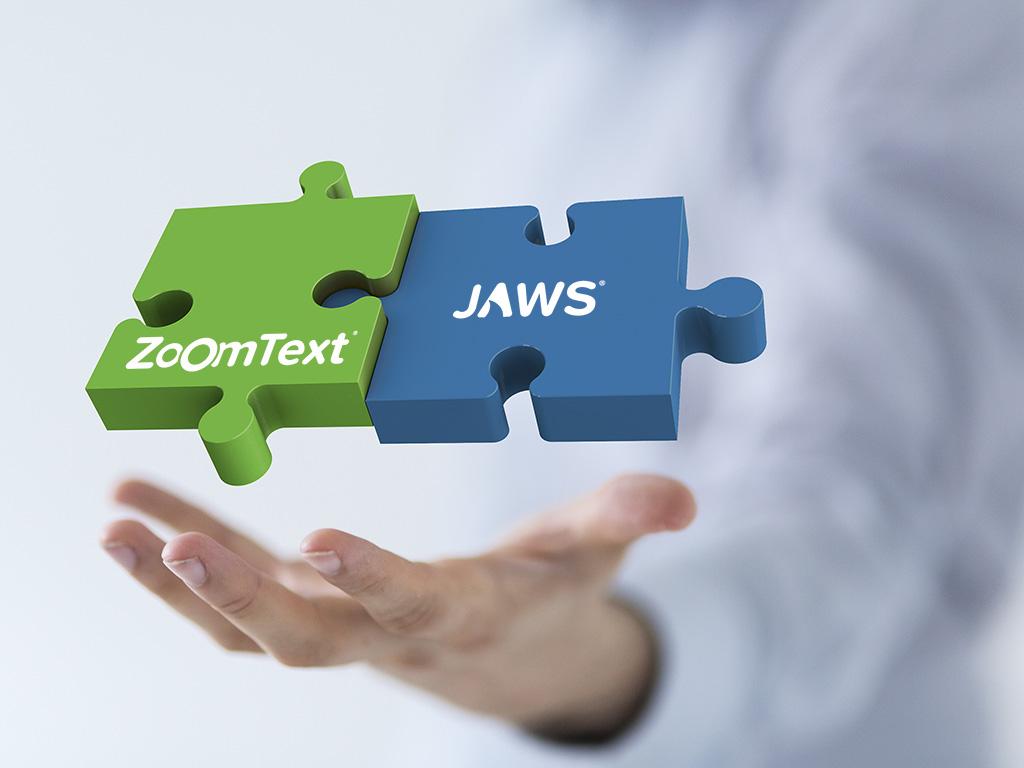 """zwei schwebende, verzahnte Puzzleteile in blau und grün beschriftet mit """"JAWS"""" und """"ZoomText"""""""